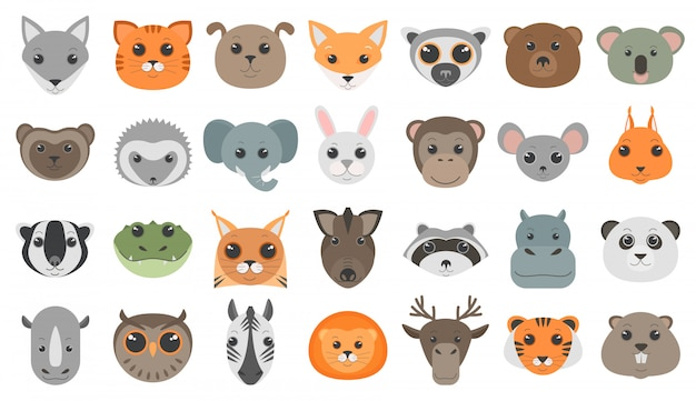 Cute cartoon animals heads set. Premium Vector