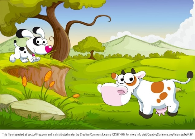 Cute cartoon animals on green landscape
