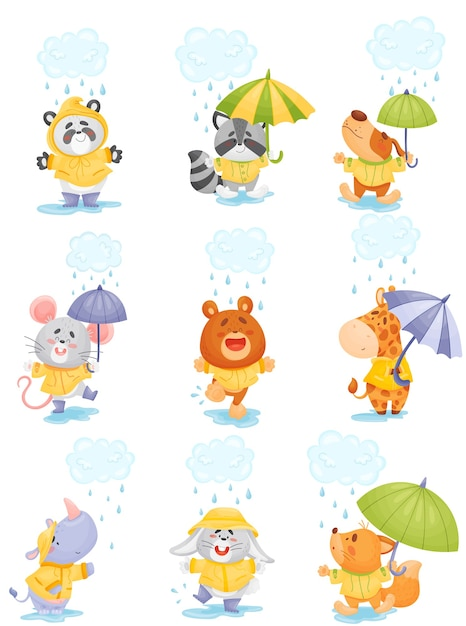 Cute cartoon animals in raincoats walk in the rain Premium Vector