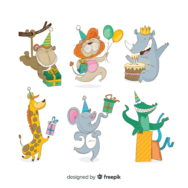 Cute cartoon animals with gifts Free Vector