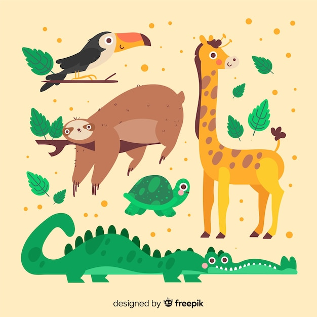 Cute cartoon animals with leaves collection Free Vector