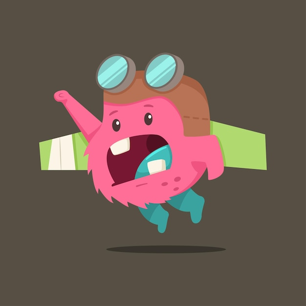Cute cartoon baby monster character.  flat illustration of a funny creature in a pilot costume with toy wings. Premium Vector