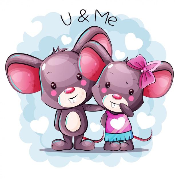 Cute cartoon baby mouse couple | Premium Vector