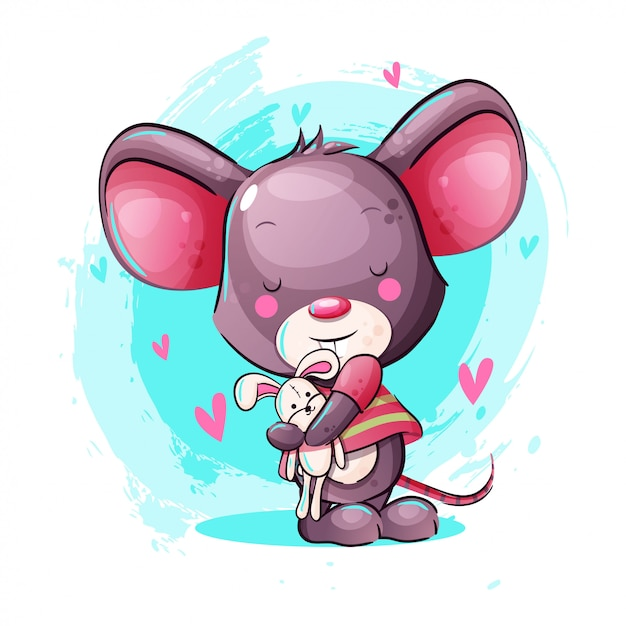 Cute cartoon baby mouse with bunny toy Premium Vector