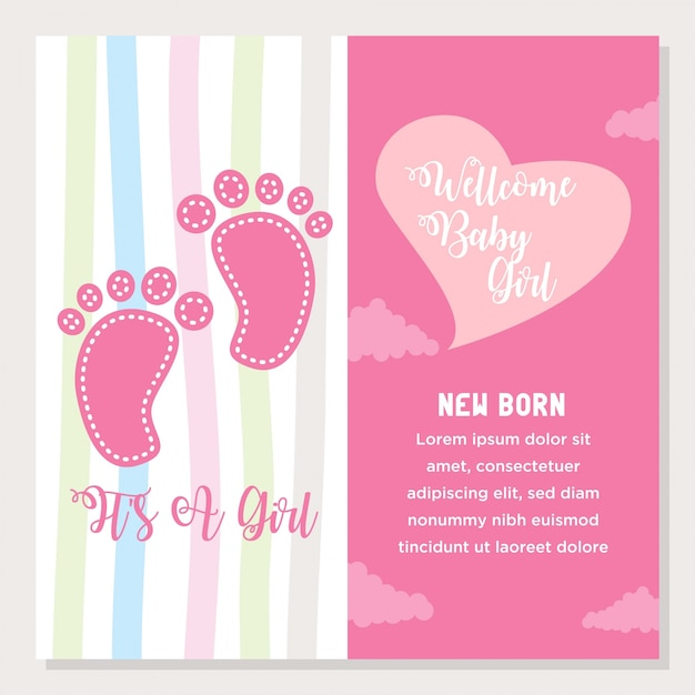 Cute cartoon baby shower and new born invitation card vector cute cartoon baby shower and new born invitation card premium vector stopboris Choice Image