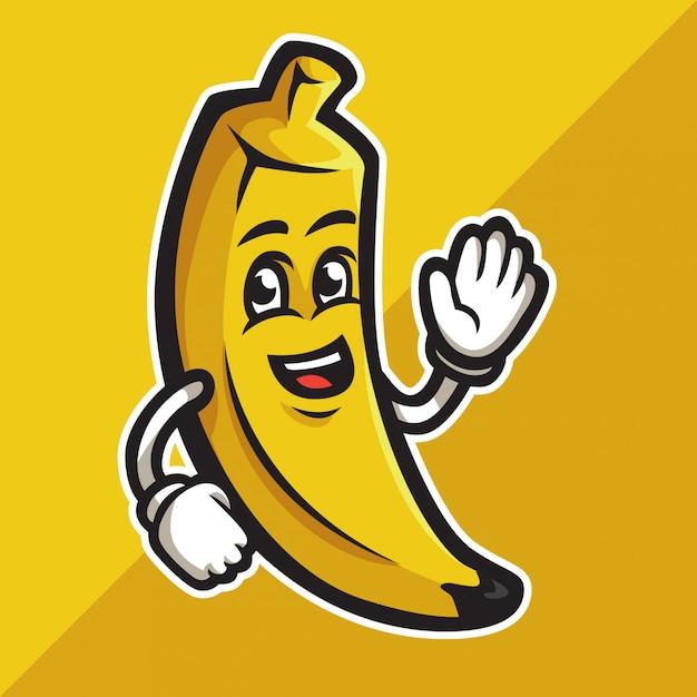 Cute cartoon banana waving its hand Premium Vector