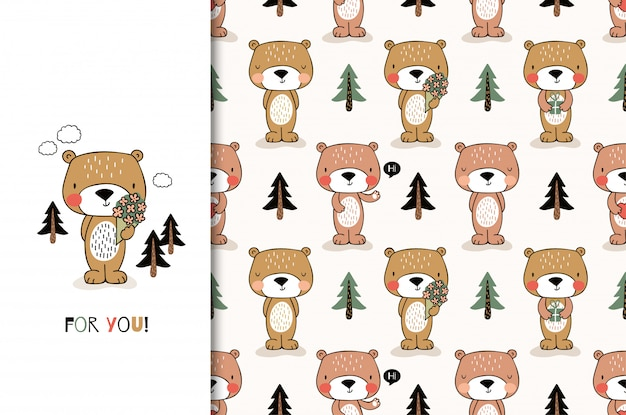 Cute cartoon bear. greeting card and kids seamless pattern set. hand drawn  design illustration. Premium Vector