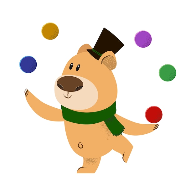 Cute cartoon bear in top hat and green scarf juggling Free Vector