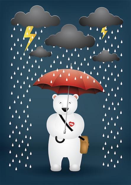 Cute cartoon bear an umbrella on a rainy day. Premium Vector
