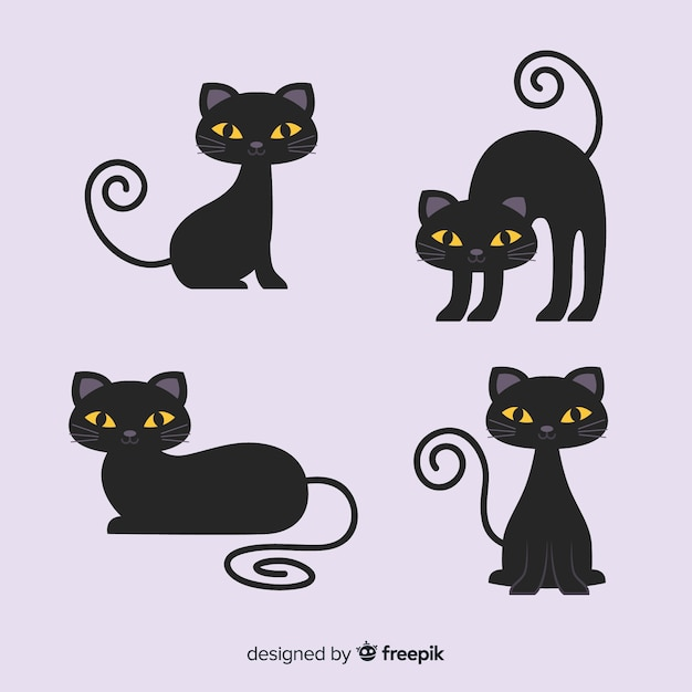Cute cartoon black cat character Free Vector
