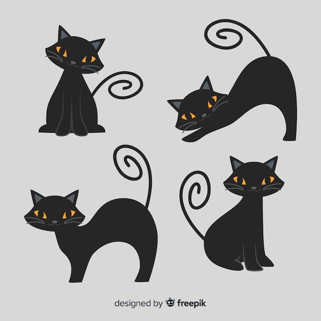귀여운 만화 검은 고양이 할로윈 캐릭터 무료 벡터