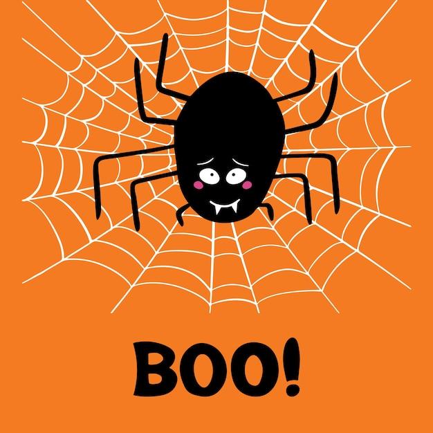 Симпатичный мультяшный черный паук с виноватым взглядом на белой паутине и словом бу на оранжевом фоне. открытка на хэллоуин. Premium векторы