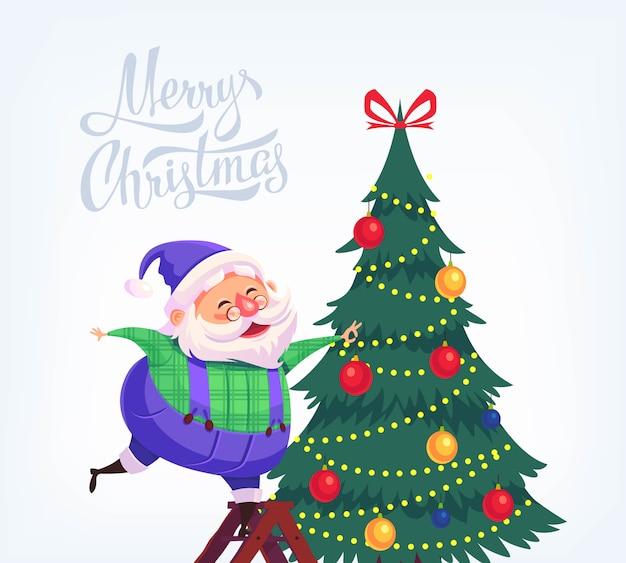 かわいい漫画青いスーツサンタクロースがクリスマスツリーを飾るメリークリスマスイラスト Premiumベクター