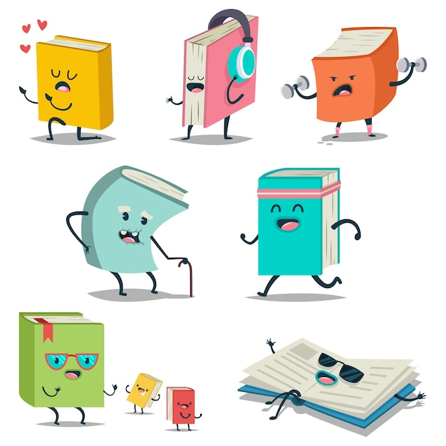 Cute cartoon book character with different emotions and in action icons set Premium Vector