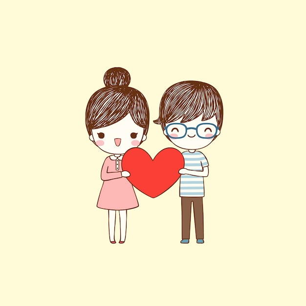 Cute Cartoon Boy And Girl Holding Big Heart In Flat Style Vector