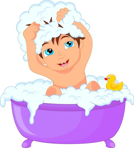 Cute Cartoon Boy Having Bath Vector