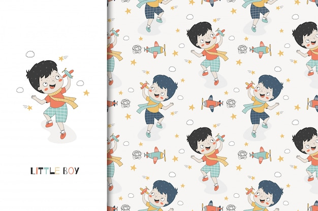 Cute cartoon boy playing with toy airplane. kids card print template and seamless pattern. hand drawn design Premium Vector