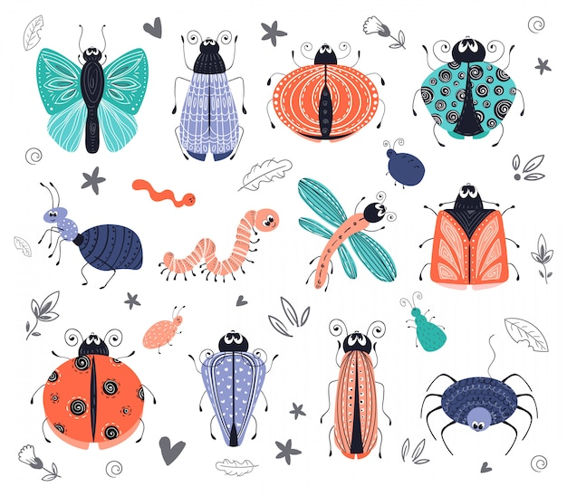Cute cartoon bugs, beetles, vector set Premium Vector