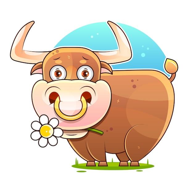Cute cartoon bull  stock illustration on a white background.  decoration Premium Vector