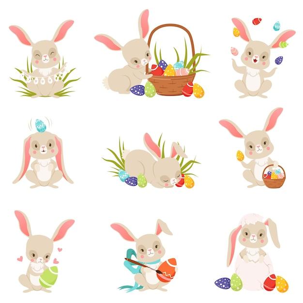 保持しているかわいい漫画のウサギと卵セット Premiumベクター
