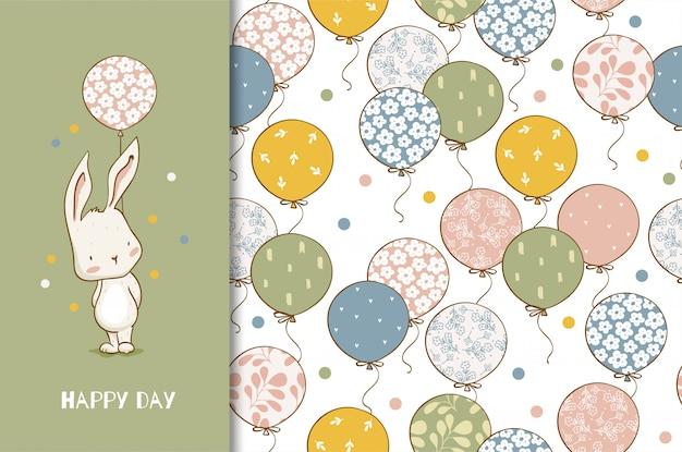 Cute cartoon bunny character with balloons. kids animal card and seamless pattern. hand drawn design illustration. Premium Vector