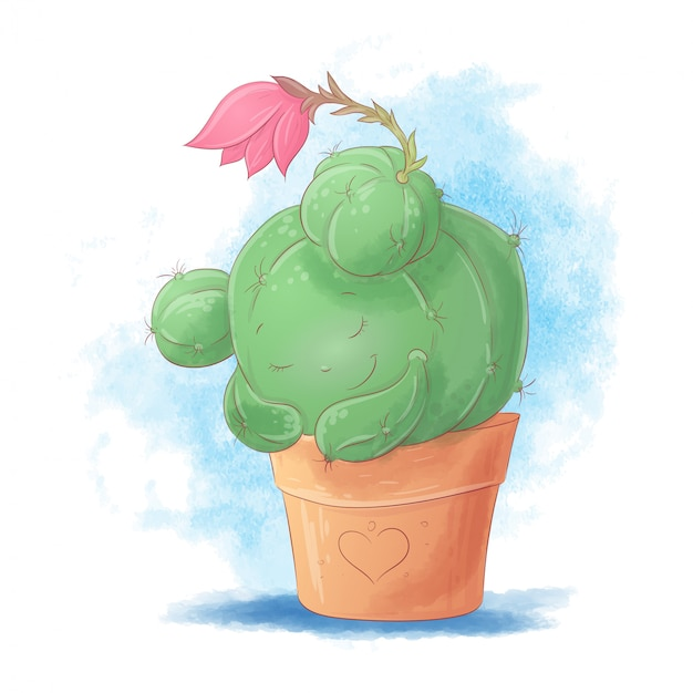 Cute cartoon cactus girl sleeping in a pot. Premium Vector