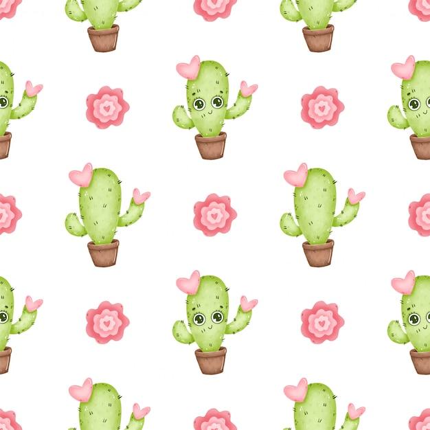 Милый мультфильм кактус бесшовные модели. мультяшный кактусы с глазами, розовыми цветами и сердечками на белом фоне Premium векторы