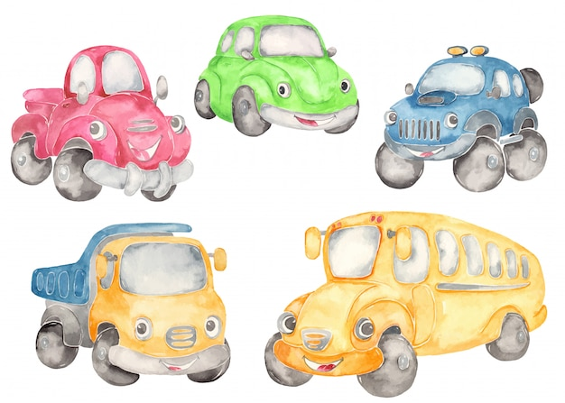 Cute cartoon cars Premium Vector
