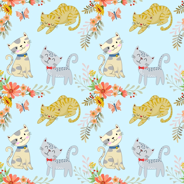 Cute cartoon cat and flowers seamless pattern. Premium Vector