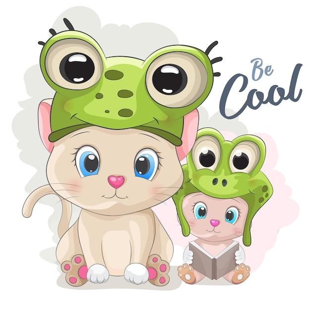 Cute cartoon cat in a frog hat Premium Vector