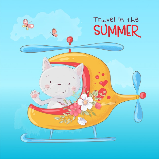 Cute cartoon cat in a helicopter Premium Vector