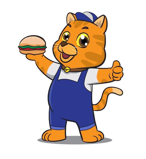 Cute cartoon cat mascot holding sandwich Premium Vector