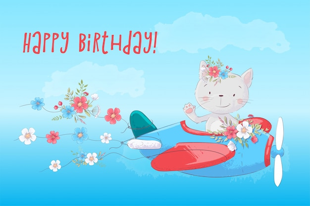 Cute cartoon cat on the plane with flowers card Premium Vector