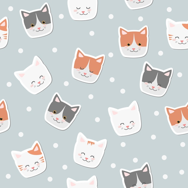 Cute Cartoon Cat Smile Faces Sticker On Poka Dot Background