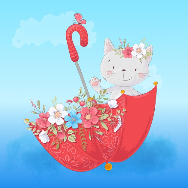 Cute cartoon cat in an umbrella with flowers Premium Vector