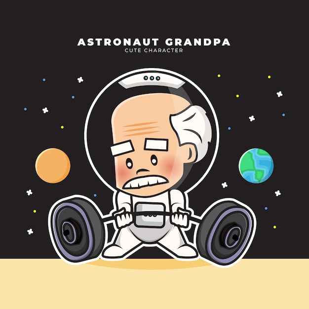 Cute cartoon character of astronaut grandpa is lifting a barbell Premium Vector