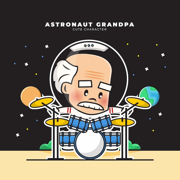 Cute cartoon character of astronaut grandpa was playing the drums Premium Vector