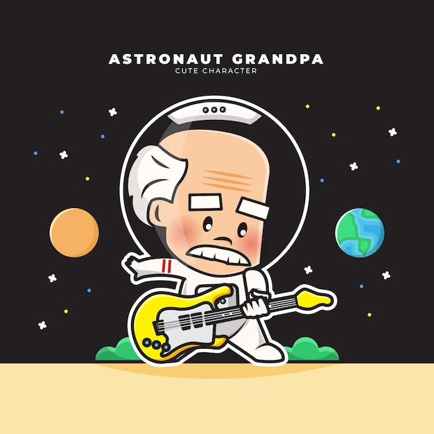 Cute cartoon character of astronaut grandpa was playing guitars Premium Vector