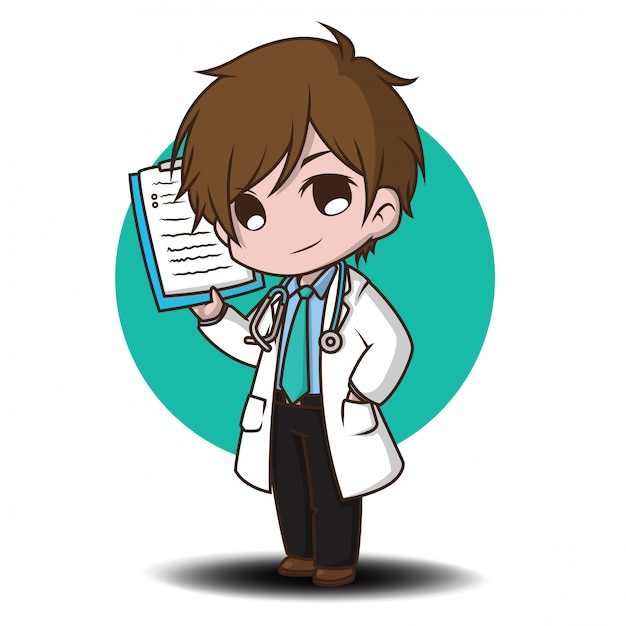 Cute cartoon character doctor style. Premium Vector