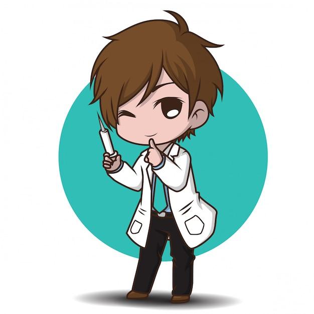 Cute cartoon character doctor style. Premium Vector