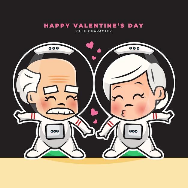 Cute cartoon character of elderly couple astronauts happy valentine's greetings Premium Vector