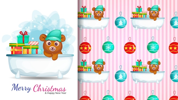 浴室のかわいい漫画のキャラクター。クリスマスの日のイラストとシームレスなパターン。 Premiumベクター