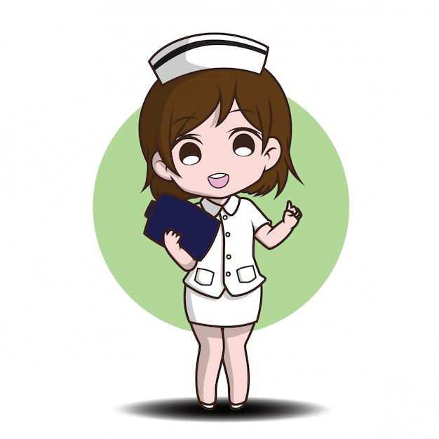 Cute cartoon character nurse. Premium Vector