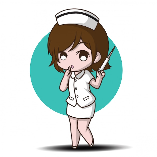 Cute cartoon character nurse. Premium Vector