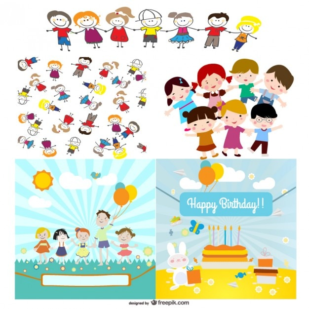 Cute cartoon characters   vector Free Vector