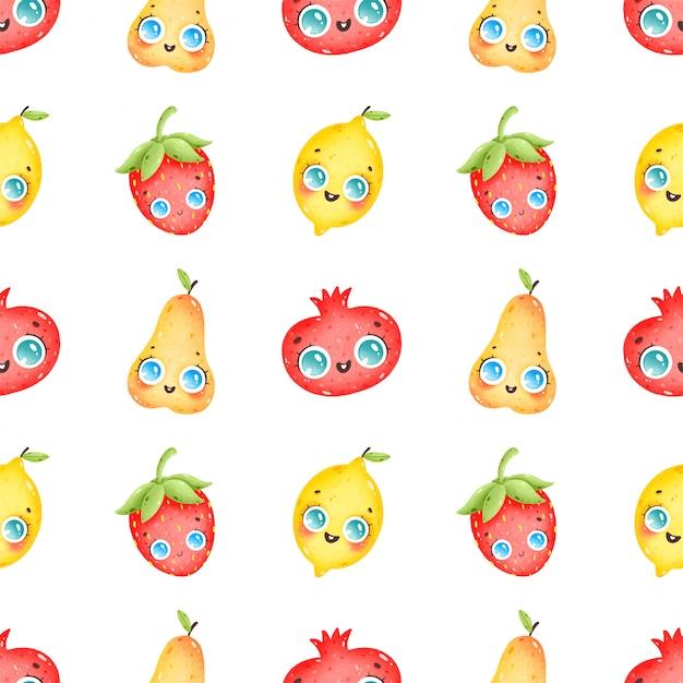 Симпатичные карикатуры красочные фрукты бесшовный узор на белом фоне. груша, гранат, клубника, лимон Premium векторы