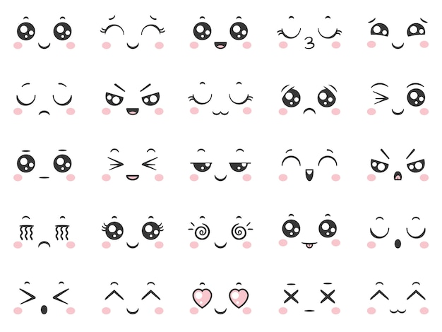 Cute cartoon comic smile doodle character emoticons with facial expressions. Premium Vector
