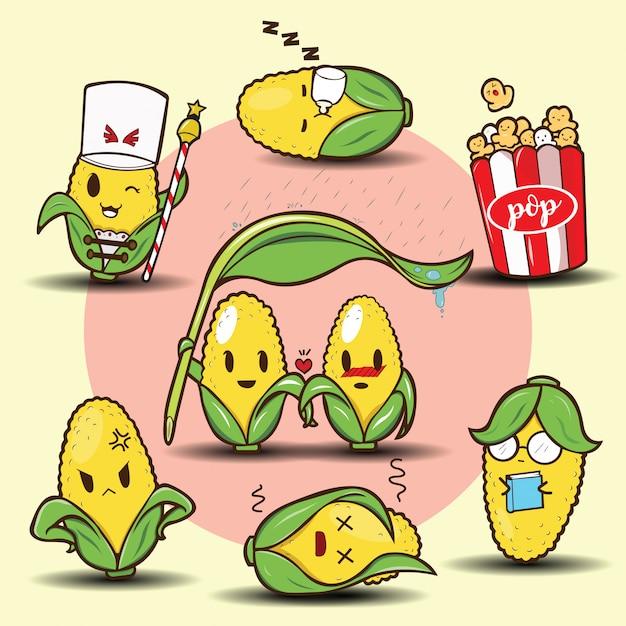 Cute cartoon corn set Premium Vector