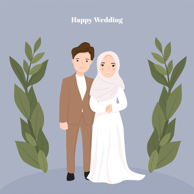 Cute Cartoon Couple Bride And Groom Muslim Premium Vector
