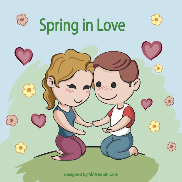 8e12705691 Cute cartoon couple in love Vector | Free Download